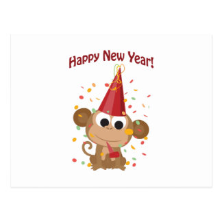 Happy New Year! Monkey Postcard