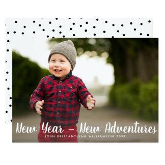 Happy New Year New Adventures Custom Family Photo Card