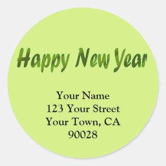 Happy New Year olive green Round Sticker