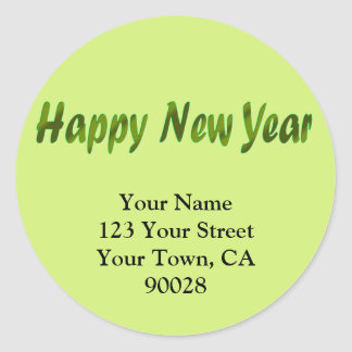 Happy New Year olive green Classic Round Sticker