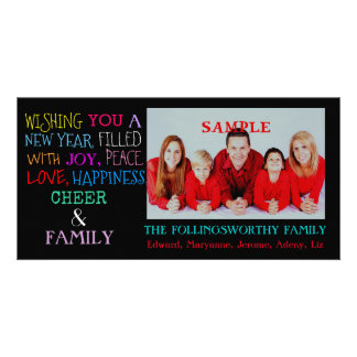 Happy New Year or Christmas Holiday Greetings Custom Photo Card