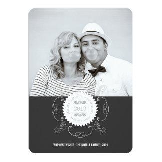 Happy New Year Ornate Seal Holiday Photo Card 13 Cm X 18 Cm Invitation Card