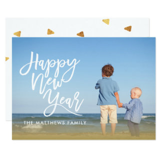 Happy New Year Overlay Simple Holiday Photo Card