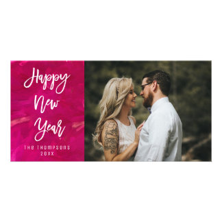 Happy New year Painted Bright Script Photo Card
