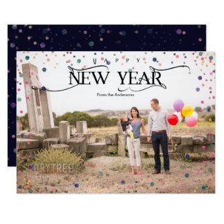 Happy New Year|Painted Dots Photo Card
