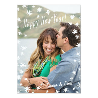 Happy New Year Painted Stars White Flat Photo Card 13 Cm X 18 Cm Invitation Card