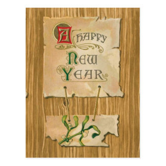 Happy New Year parchment & mistletoe on Faux bois Postcard