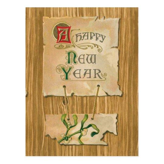 Happy New Year parchment & mistletoe on Faux