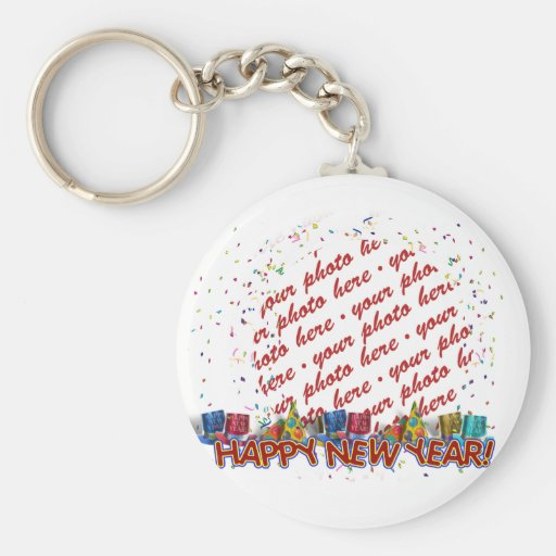 Happy New Year Party Hats Photo Frame Keychains