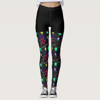 Happy New Year Pattern Leggings With Shorts Design