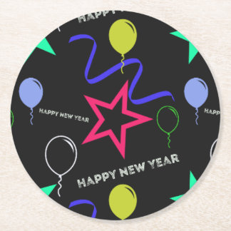 Happy New Year Pattern Round Paper Coaster