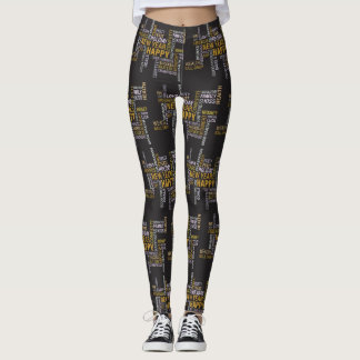 Happy new year peace health happiness leggings