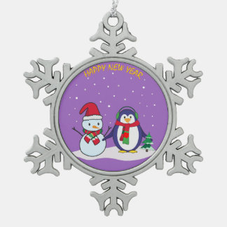 Happy New Year penguin, snowman Snowflake Pewter Christmas Ornament