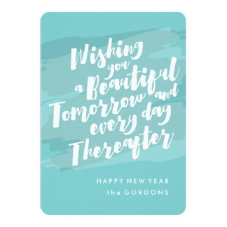 Happy New Year Photo Card, Brush Strokes 13 Cm X 18 Cm Invitation Card