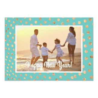 Happy New Year Photo Card Tropical Teal Gold Dots 13 Cm X 18 Cm Invitation Card