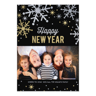 Happy New Year Photo Cards   Silver Gold Sparkle 13 Cm X 18 Cm Invitation Card