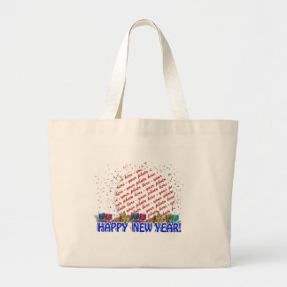 Happy New Year Photo Frame Tote Bags