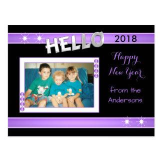 Happy New Year photo postcard purple