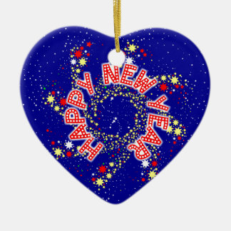 Happy New Year Pin Wheel Ceramic Heart Decoration
