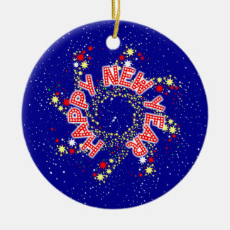 Happy New Year Pin Wheel Round Ceramic Decoration