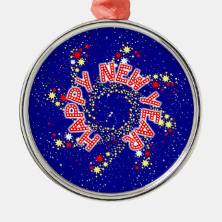 Happy New Year Pin Wheel Silver-Colored Round Decoration