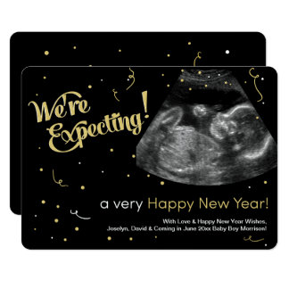 Happy New Year Pregnancy Announcement Card