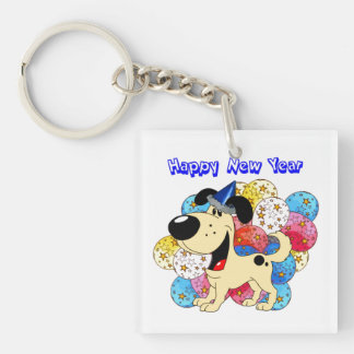 Happy New Year Pup Square Acrylic Key Chains