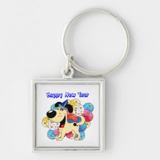 Happy New Year Pup Keychains