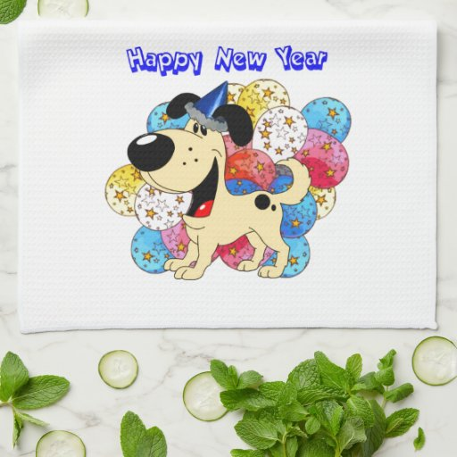 Happy New Year Pup! Hand Towel