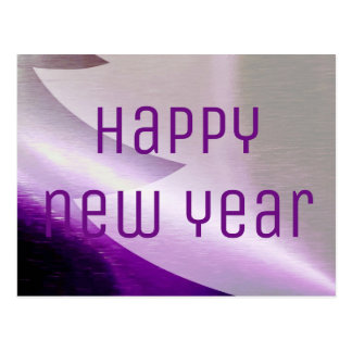 Happy New Year Purple Silver Christmas Tree Postcard
