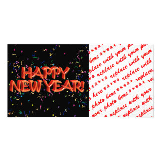 Happy New Year Red Text w/Confetti Picture Card