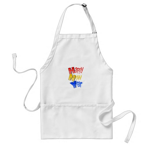 Happy New Year Red Yellow Blue Aprons