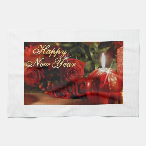 Happy New Year Roses Kitchen Towel
