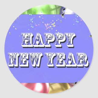 Happy New Year Round Sticker