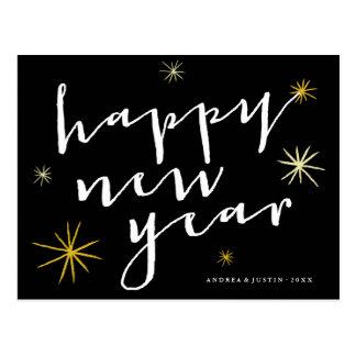 Happy New Year Script Starburst Photo Postcard
