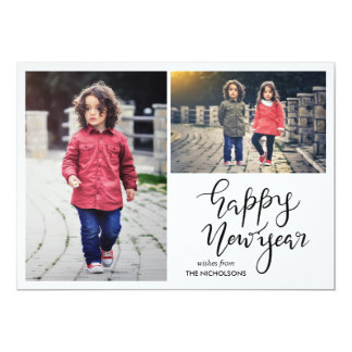 Happy New Year Script Two Photo Holiday Card