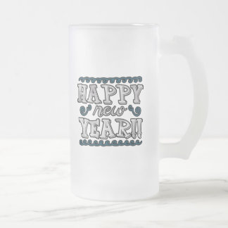 Happy New Year, Silver and Teal Frosted Glass Beer Mug