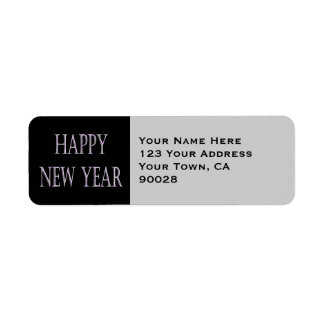 happy new year silver holiday return address label