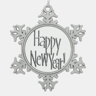 Happy New Year - Silver Text Snowflake Pewter Christmas Ornament