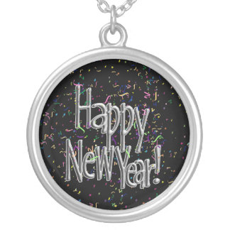 Happy New Year - Silver Text w/Black Confetti Silver Plated Necklace