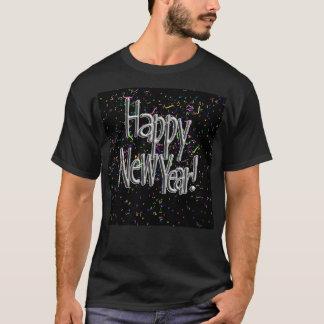 Happy New Year - Silver Text w/Black Confetti T-Shirt