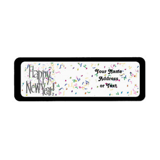 Happy New Year - Silver Text With Confetti