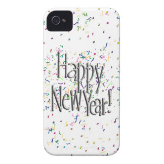 Happy New Year - Silver Text With Confetti Case-Mate iPhone 4 Case