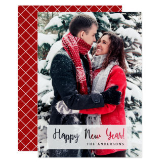 Happy New Year Simple Cut Out Script Text Photo Card