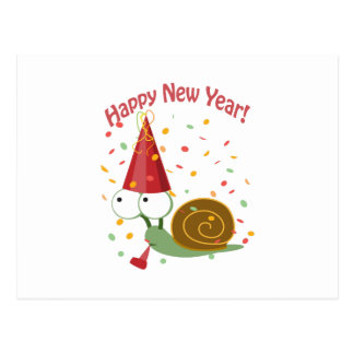 Happy New Year! Snail Postcard