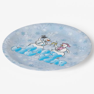 Happy New Year Snowman Paper Plate