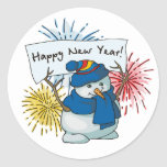 happy new year snowman round stickers