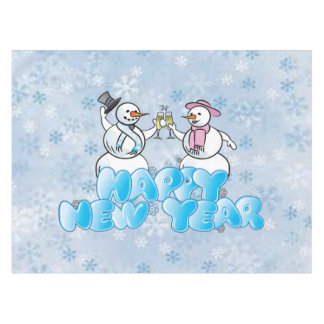 Happy New Year Snowman Tablecloth