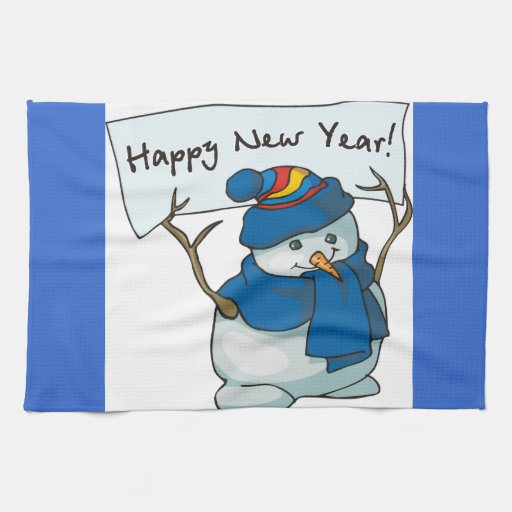 Happy New Year Snowman Towels
