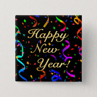 """""""Happy New Year!"""" square button"""